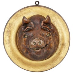 19th Century Carved Wood Butchers Display Pig