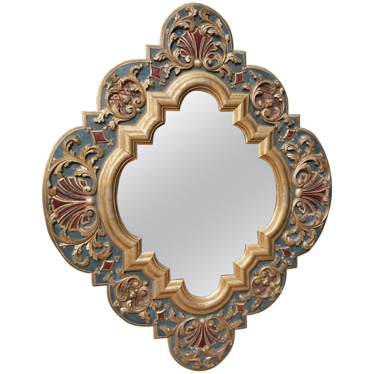 19th Century Carved Wood Gothic Style Mirror For Sale