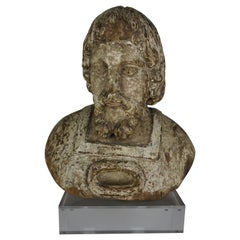 19th Century Carved Wood Italian Bust on Lucite Base