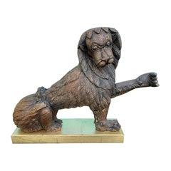 19th Century Carved Wood Lion on Custom Gilded Base