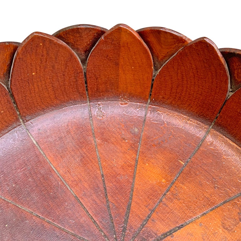 19th Century Carved Wood Lotus Bowl In Good Condition In Chicago, IL