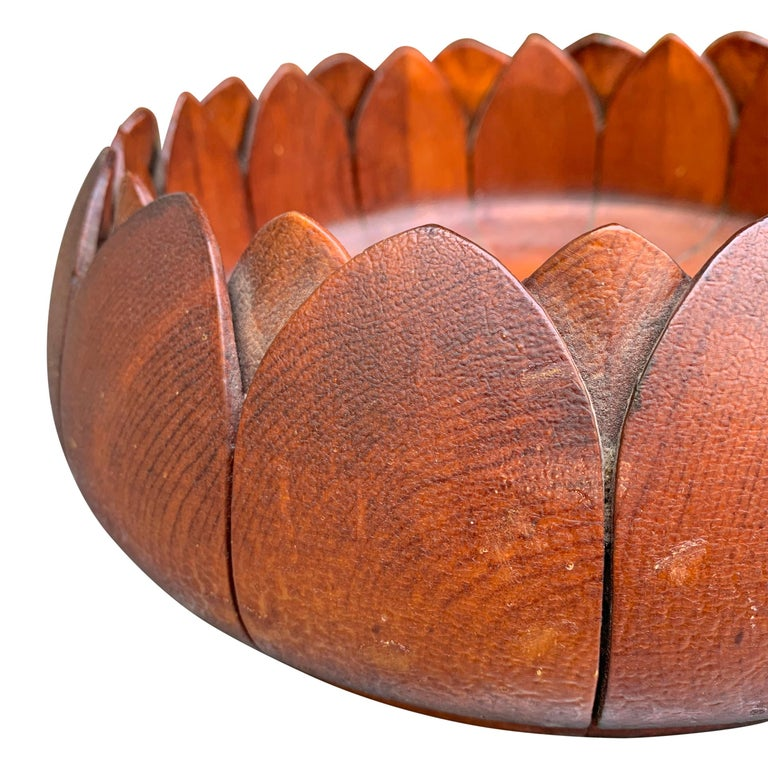 19th Century Carved Wood Lotus Bowl 1