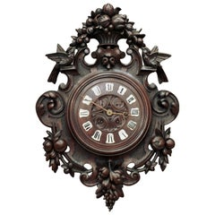19th Century Carved Wood Louis XVI Wall Clock