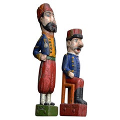 19th Century Carved Wood Pair of Jeu de Massacre Fairground Figures
