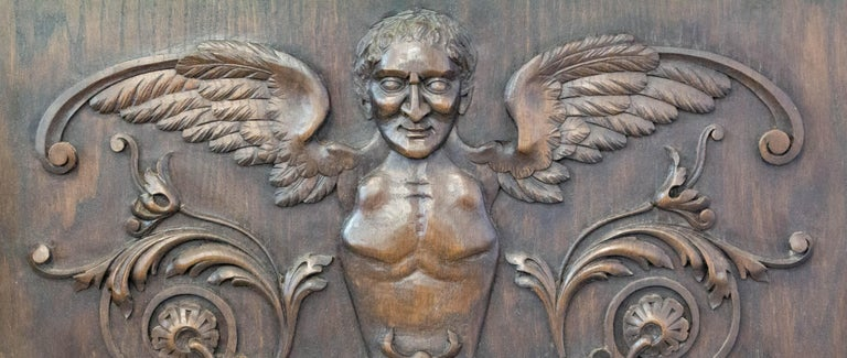Renaissance 19th century hand carved wood plaque unique French oak wall panel With three chimeras absolutely stunning Superb patina Very good antique condition.