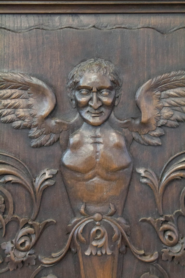 Renaissance Revival 19th Century Carved Wood Panel French One of Kind Renaissance Chimera Plaque For Sale