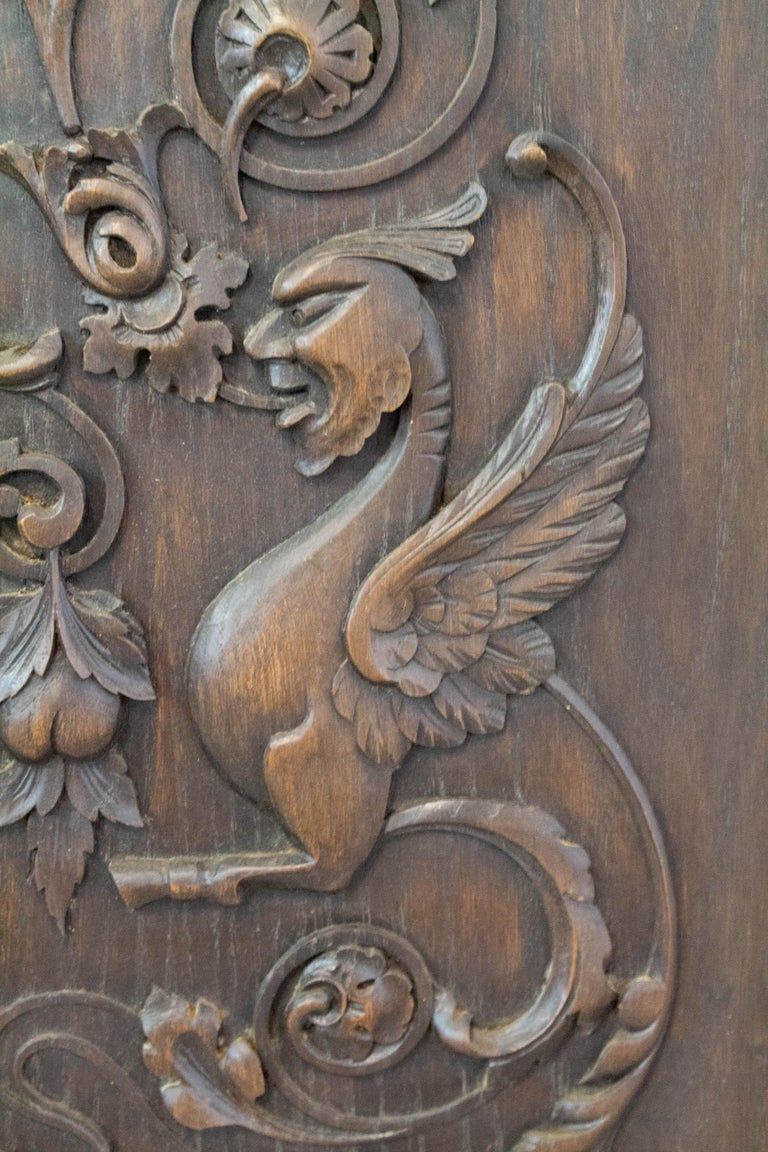 Hand-Carved 19th Century Carved Wood Panel French One of Kind Renaissance Chimera Plaque For Sale