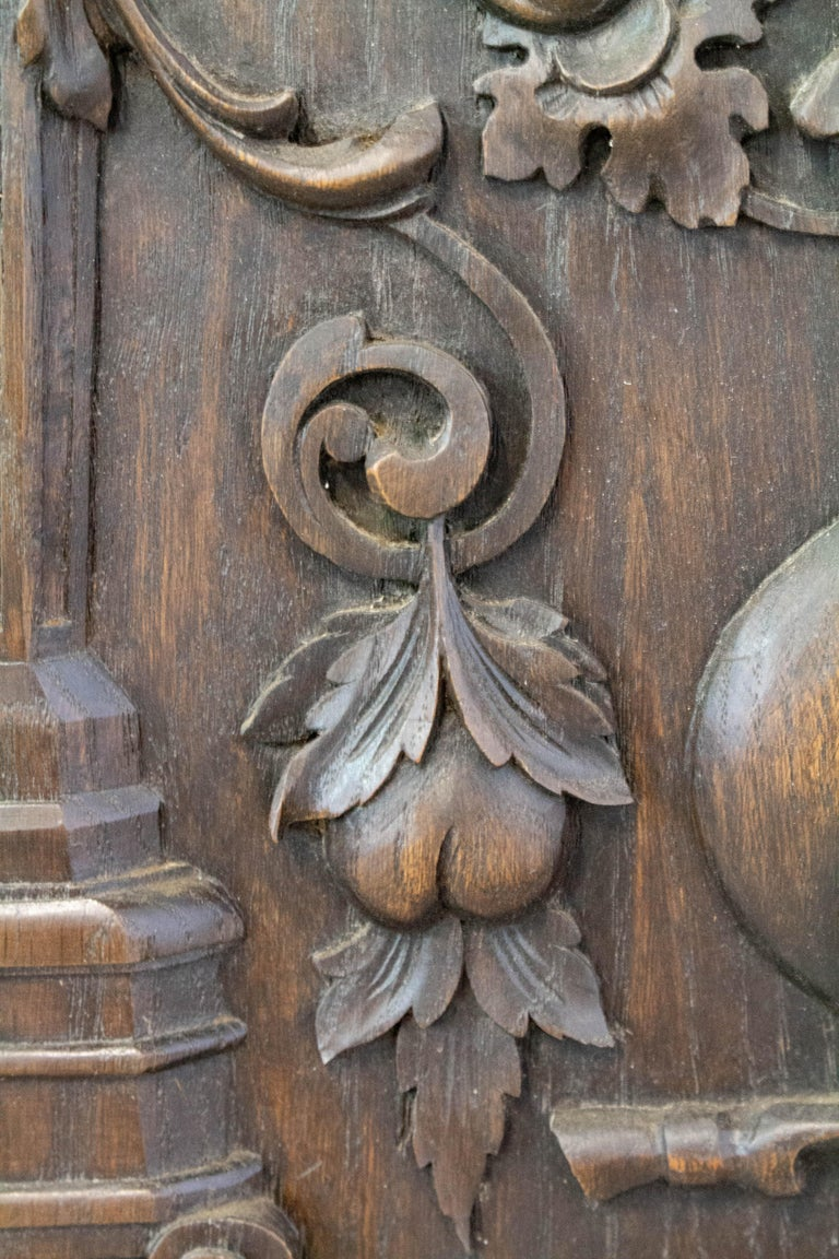 Oak 19th Century Carved Wood Panel French One of Kind Renaissance Chimera Plaque For Sale