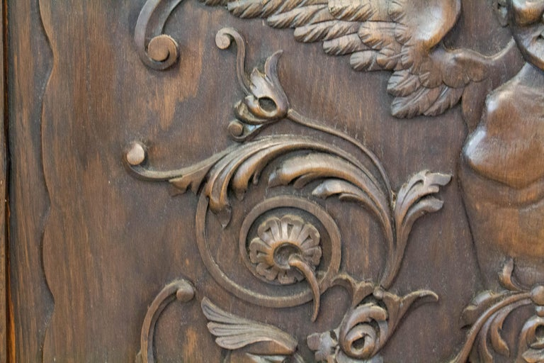19th Century Carved Wood Panel French One of Kind Renaissance Chimera Plaque For Sale 1