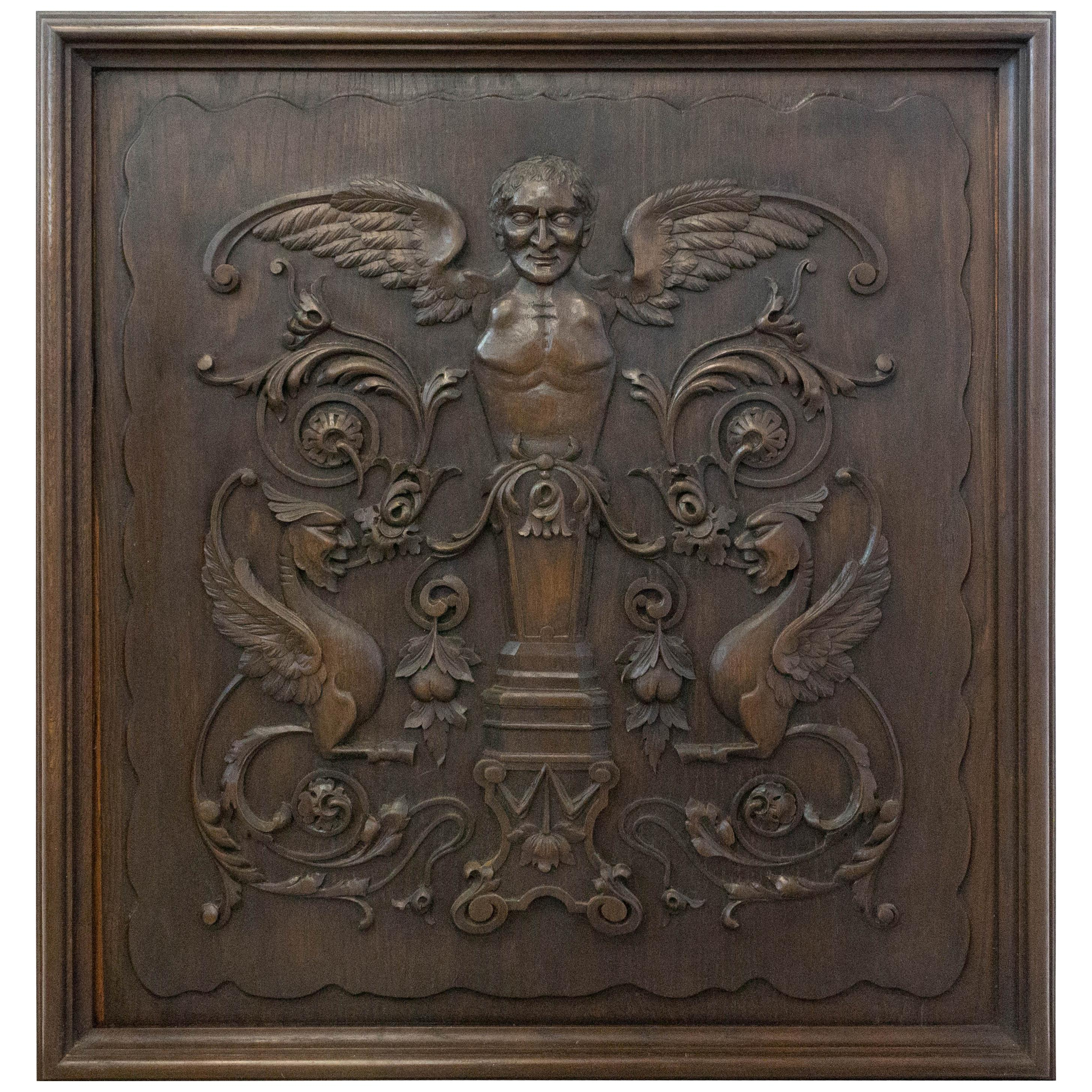 19th Century Carved Wood Panel French One of Kind Renaissance Chimera Plaque