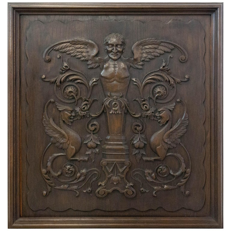 19th Century Carved Wood Panel French One of Kind Renaissance Chimera Plaque For Sale