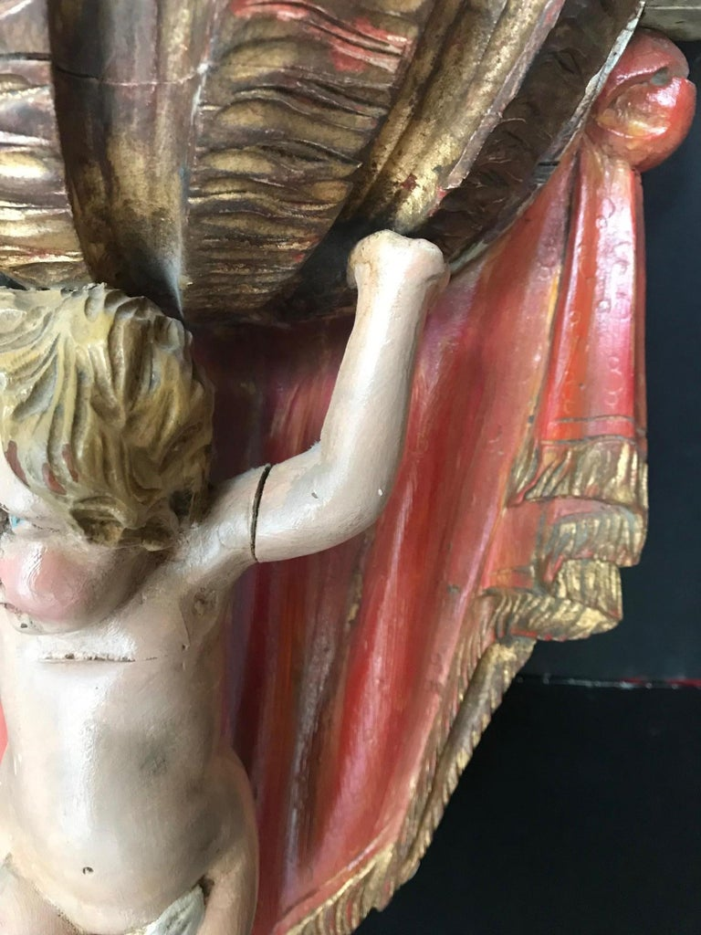 19th Century Carved Wood Polychrome and Gilt Putto Hanging Shelf For Sale 6