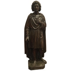 19th Century Carved Wood Santos Of St Martin, Great Scale, Color and Patination