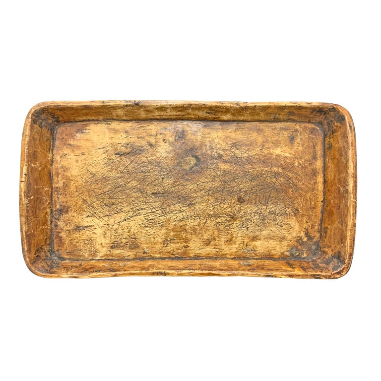 Hand-Carved 19th Century Carved Wood Tray For Sale