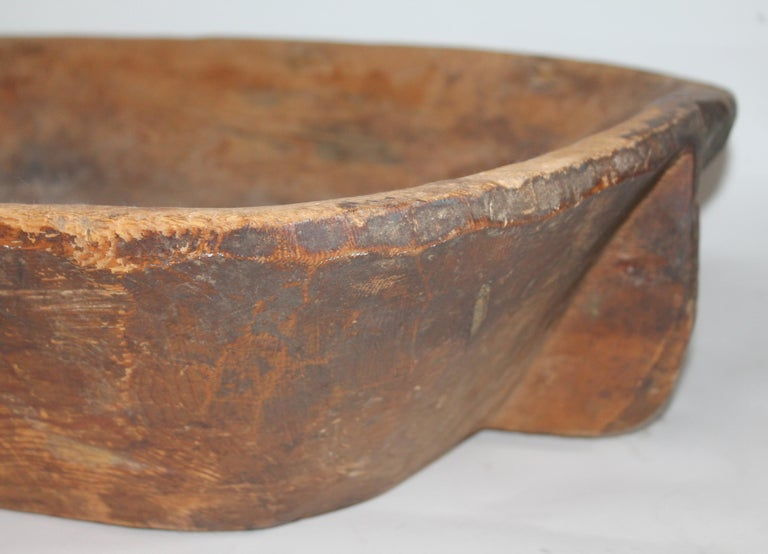 American 19th Century Carved Wooden Butter Bowl For Sale