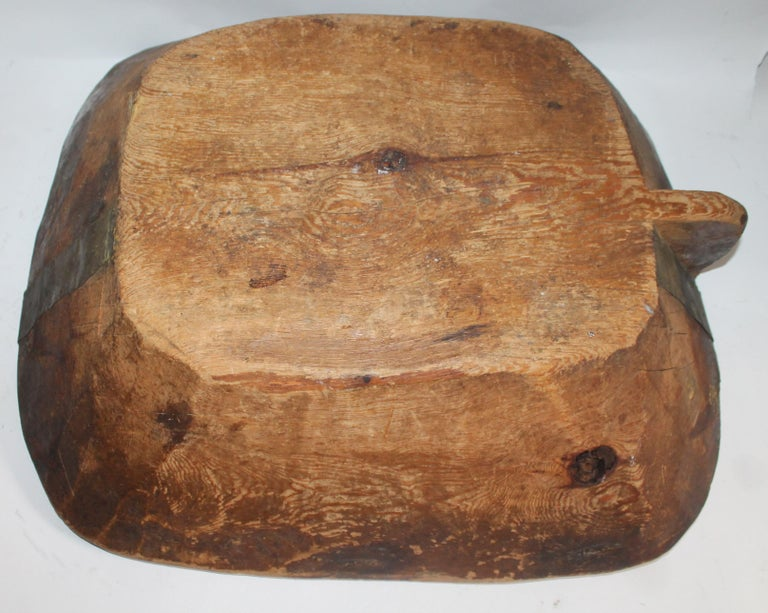 19th Century Carved Wooden Butter Bowl In Good Condition For Sale In Los Angeles, CA