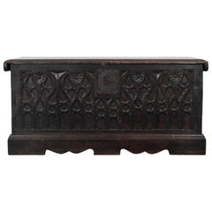 19th Century Carved Wooden Trunk