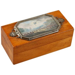 19th Century Casket for Stamps with a Miniature in Gouache