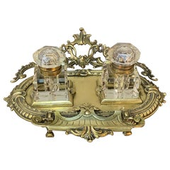 19th Century Cast Bronze and Crystal Inkwell