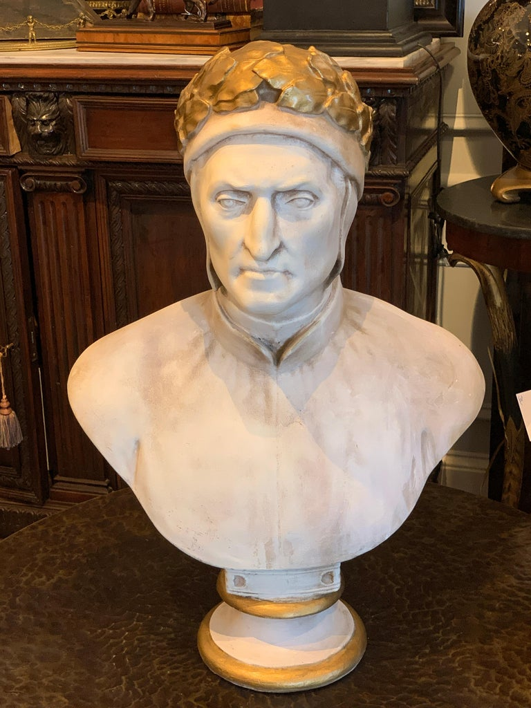19th century cast and gilt plaster portrait bust of Dante Alighieri, a fine and large example in very fine well cared for condition, raised on a 8