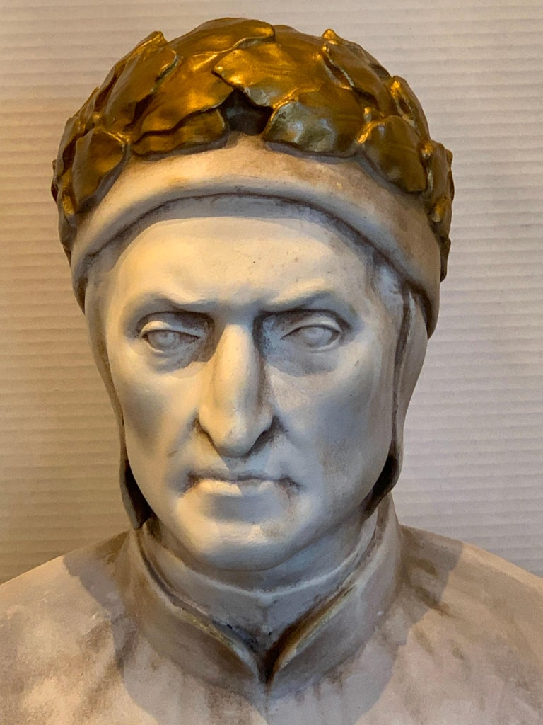 Italian 19th Century Cast and Gilt Plaster Portrait Bust of Dante Alighieri For Sale