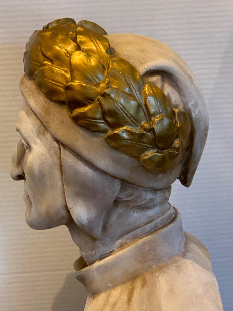 19th Century Cast and Gilt Plaster Portrait Bust of Dante Alighieri In Good Condition For Sale In Atlanta, GA