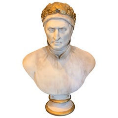 19th Century Cast and Gilt Plaster Portrait Bust of Dante Alighieri