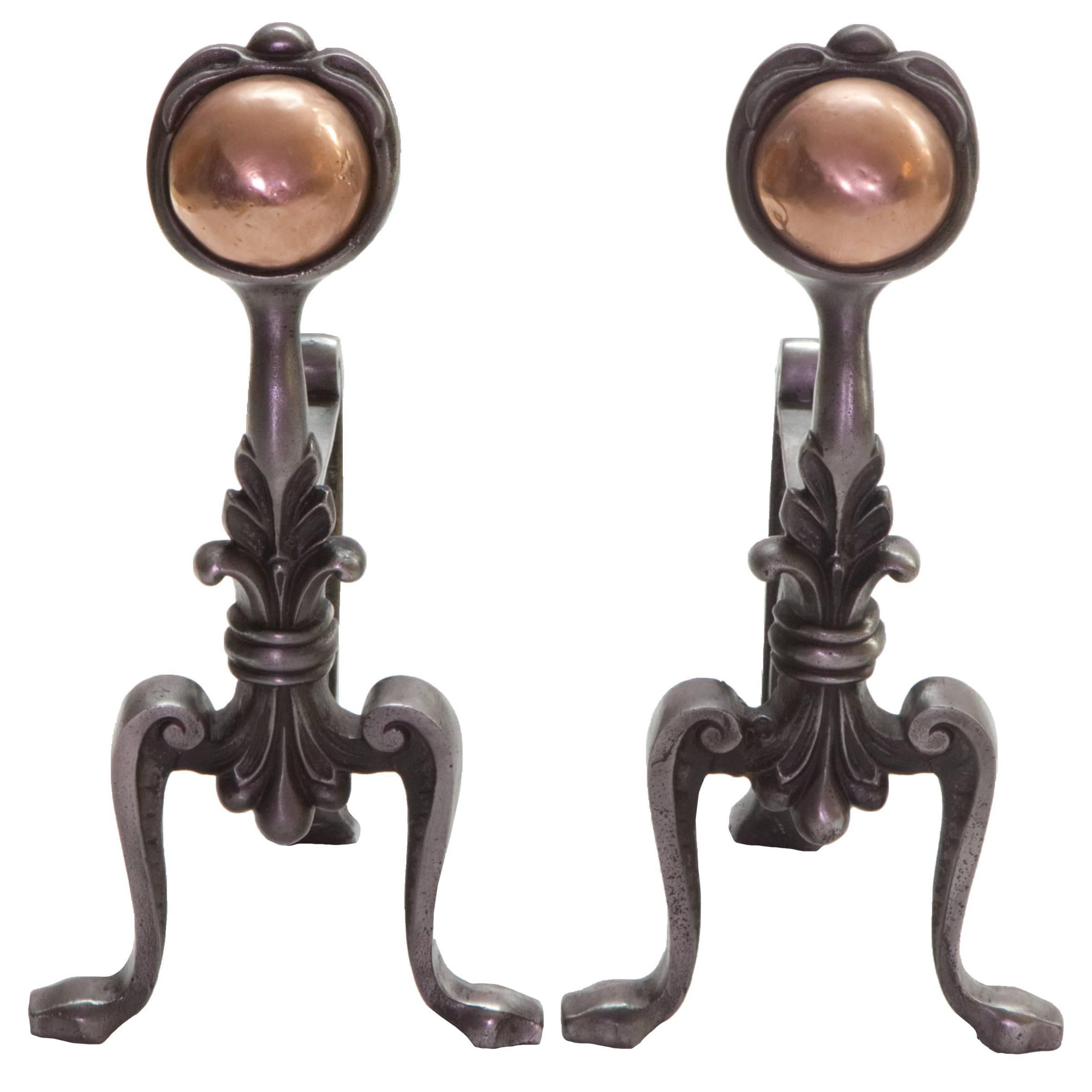 19th Century Cast Iron and Copper Andiron Fire Dogs