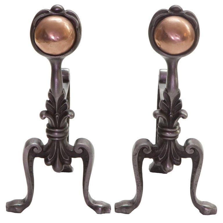 19th Century Cast Iron and Copper Andiron Fire Dogs For Sale