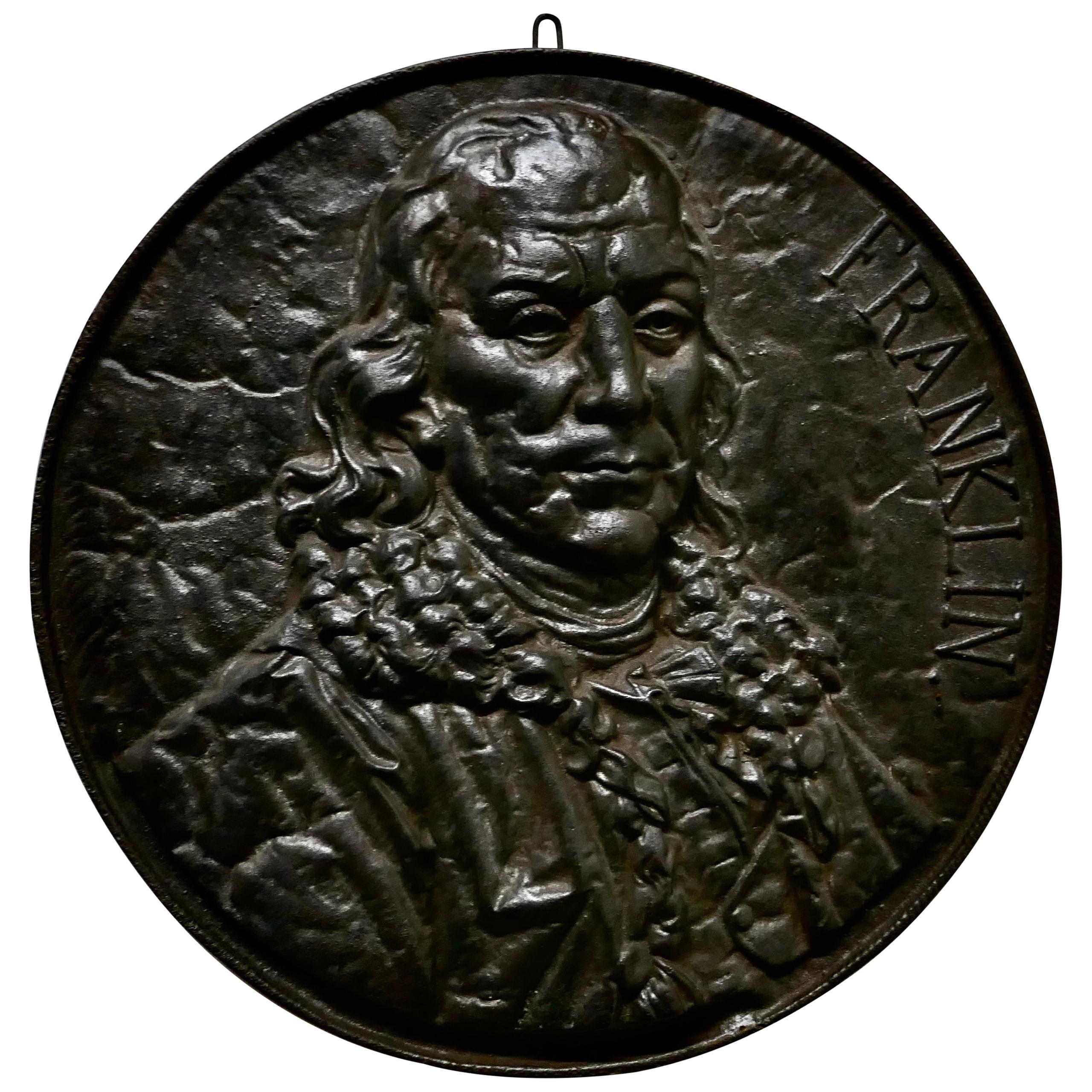 19th Century Cast Iron Bust Portrait Plaque of Benjamin Franklin