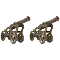 19th Century Victorian Cast Iron Cannons, Garden Ornament