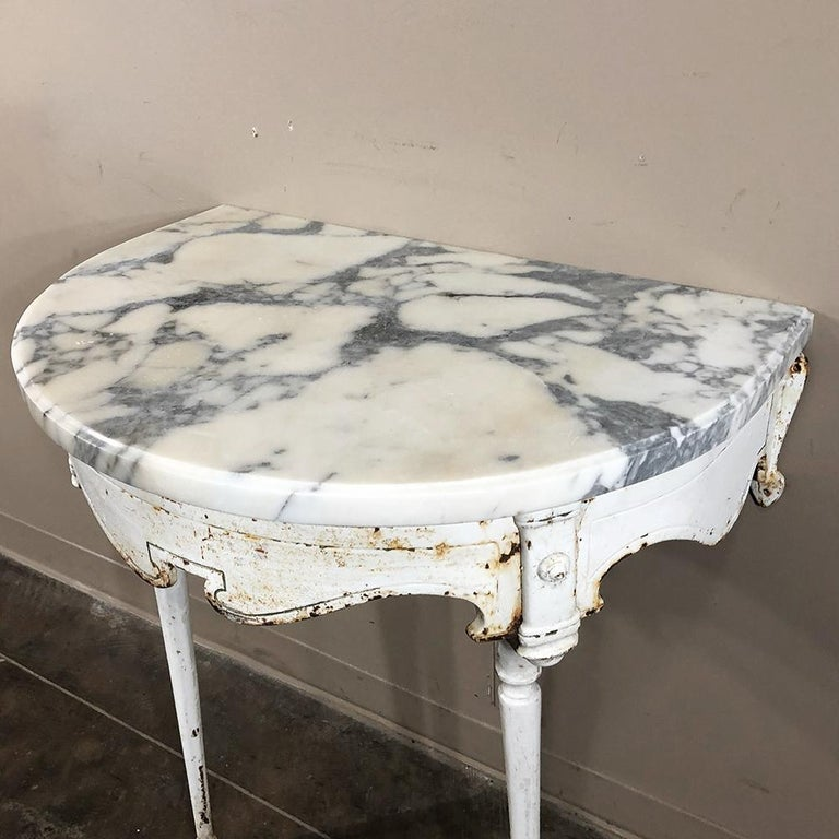 19th Century Cast Iron Demilune Marble Top Console For Sale 5