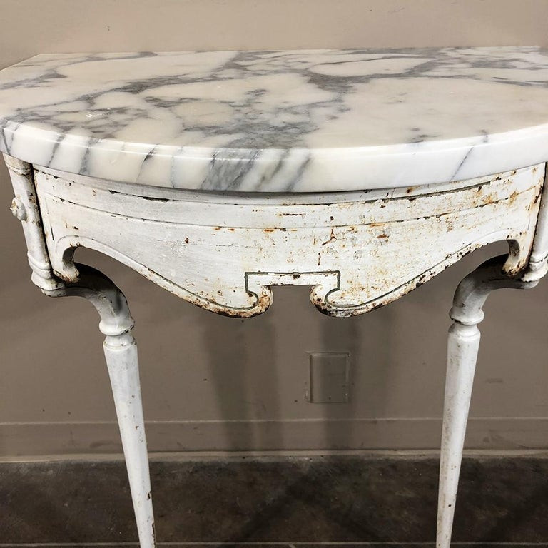 19th Century Cast Iron Demilune Marble Top Console For Sale 6
