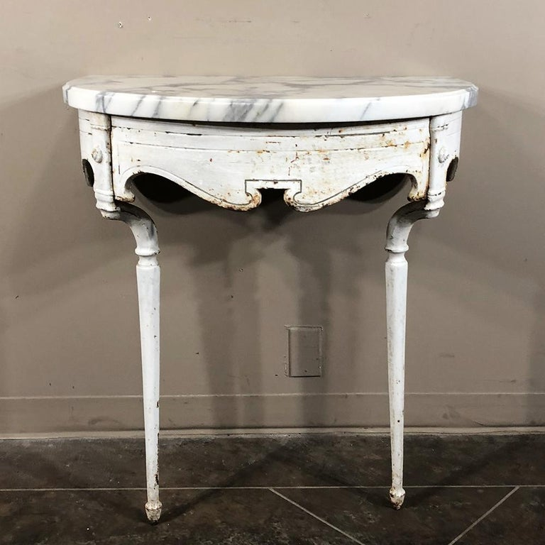 19th Century Cast Iron Demilune Marble Top Console In Good Condition For Sale In Dallas, TX