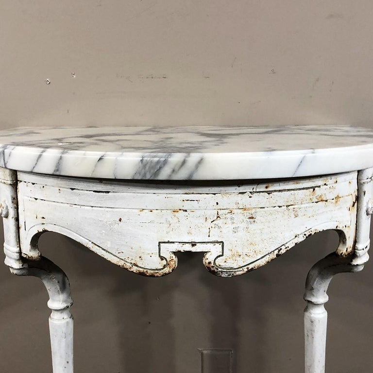 19th Century Cast Iron Demilune Marble Top Console For Sale 1