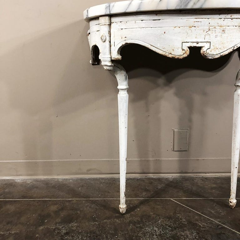19th Century Cast Iron Demilune Marble Top Console For Sale 2