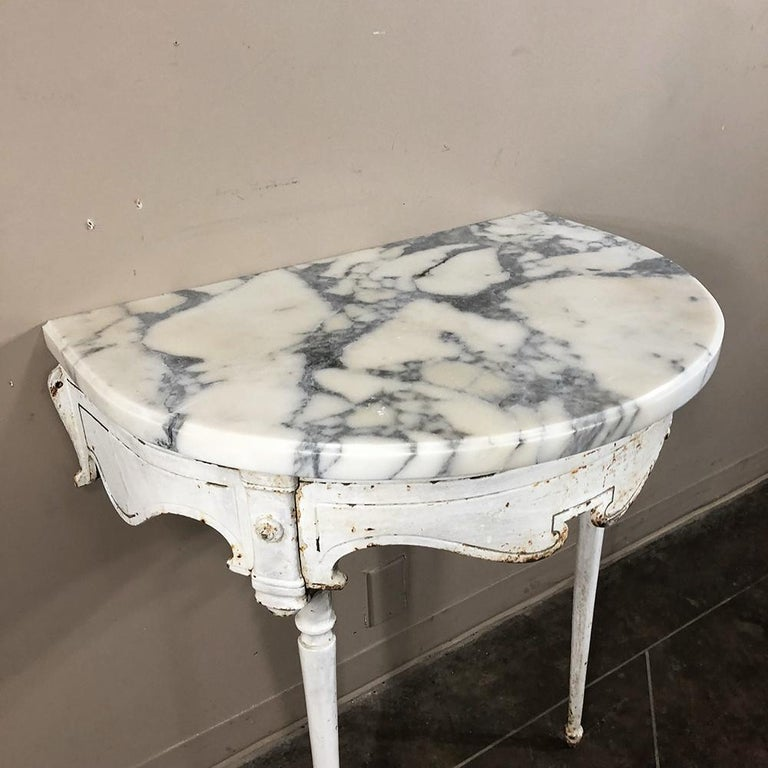 19th Century Cast Iron Demilune Marble Top Console For Sale 4
