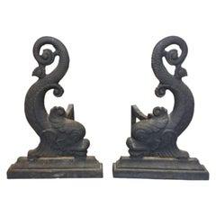 19th Century Cast Iron Dolphin Andirons