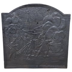 19th Century Cast Iron Fireback with Artillery