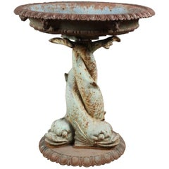 19th Century Cast Iron Garden Urn/Fountain with Twisted Dolphin Base