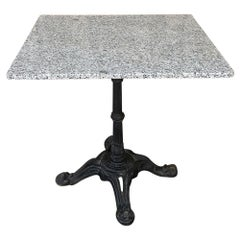 19th Century Cast Iron Granite Top Cafe Table