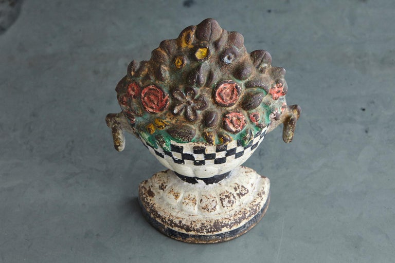 Country 19th Century Cast Iron Hand Painted Polychrome Flower Bouquet Doorstop For Sale