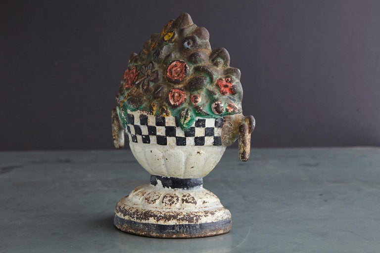 American 19th Century Cast Iron Hand Painted Polychrome Flower Bouquet Doorstop For Sale