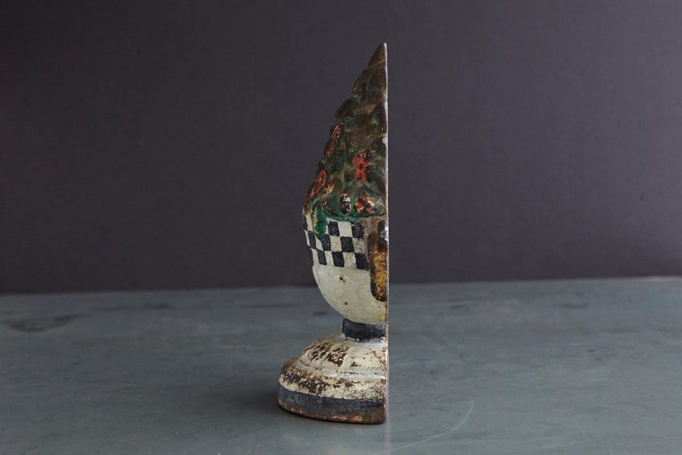 19th Century Cast Iron Hand Painted Polychrome Flower Bouquet Doorstop In Good Condition For Sale In Weston, CT