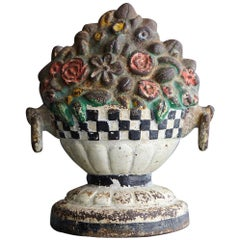 19th Century Cast Iron Hand Painted Polychrome Flower Bouquet Doorstop
