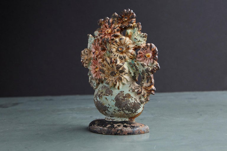 Country 19th Century Cast Iron Hand-Painted Polychrome Flower Bouquet in Vase Doorstop For Sale