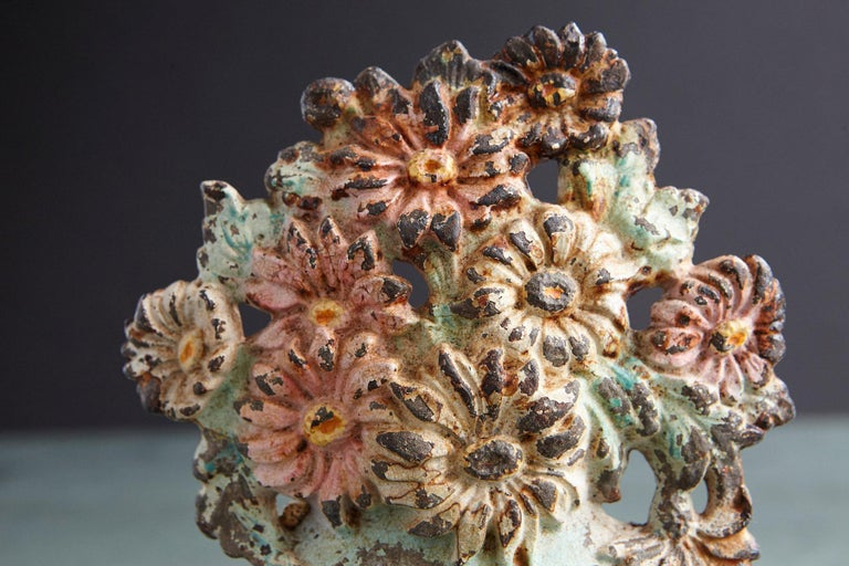 19th Century Cast Iron Hand-Painted Polychrome Flower Bouquet in Vase Doorstop For Sale 1