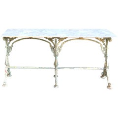 19th Century Iron French Sofa Table, Confectioner's Table with Honed Marble