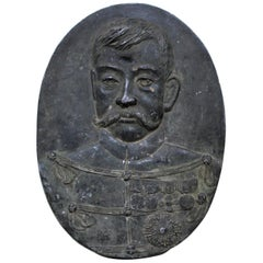 19th Century Cast Iron Military Wall Plaque Sculpture of German Officer
