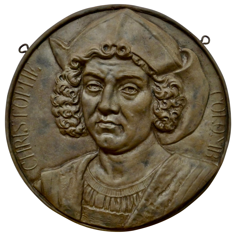19th Century Cast Iron Portrait Plaque of Christoper Columbus, 1451-1506